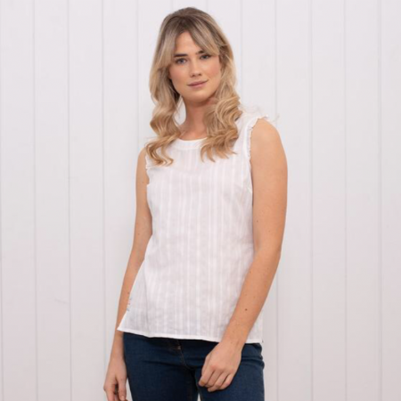 Sleeveless Frill Blouse.